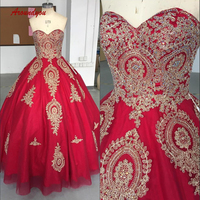 Luxury Crystals Quinceanera Dresses Ball Gown Red Tulle Prom Debutante Sweet 16 Dress vestidos de 15 anos