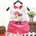 2015 fashion baby girls clothing set suit set clothing flower bow cartoon children tracksuit clothes T-shirt+pant S1652
