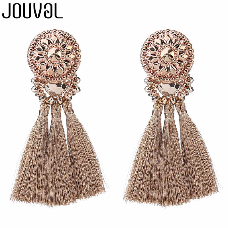 JOUVAL Top Quality Gold/Green/Black Multi Colors Drop Earrings Bohemia Handmade Plastic Beads With Tassel Earrings for Women