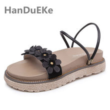 Summer Flip Flops Sandals Women For Beach Big Size 41 42 43 Fashion Flowers Teenage  Girls Sandals Casual Flat Platform Shoes d997616c0477