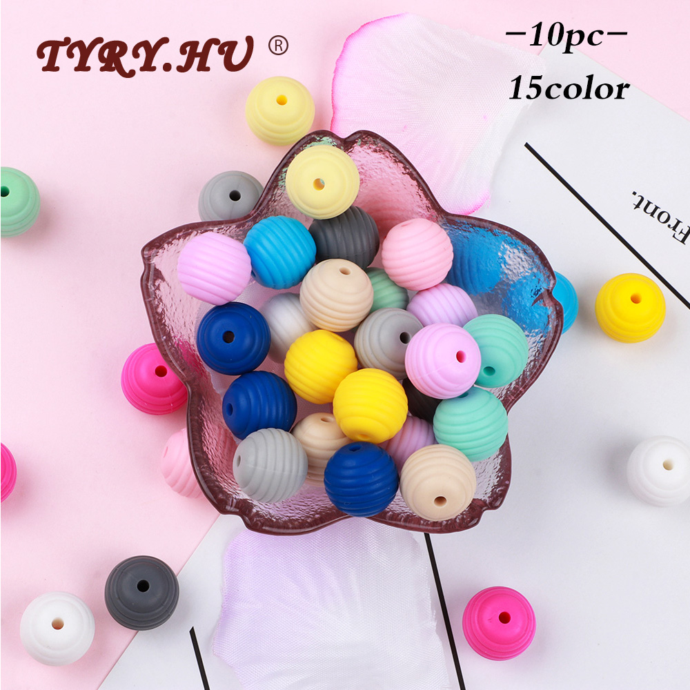 TYRY.HU 10pcs Round Silicone Beads Food Grade Baby Teether Rodents BPA Free Teething Bite Toys DIY Necklace Pacifier Chain Tool
