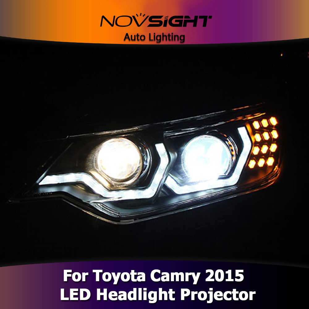 NOVSIGHT 2Pcs Car Styling LED DRL Turn Signal For Toyota Camry 2015 Headlight Assembly