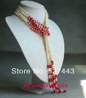Großhandel Ziemlich Koralle & White Perlen Lange Kette Quaste Keine Verschluss Krawatte Frauen Halskette Schmuck