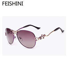 FEISHINI HD Optical Lens Pilott Glasses UV400 Protection Fashion Star Style Brand Designer Sunglasses Women Polarized Vintage