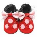 2016 Novos Couro Genuíno Bonito Massa Mickey Minnie Miúdo Bouse Borlas arco Mocassins Bebê Menina Dos Desenhos Animados Primeiro Walkers Crianças Macias sapatos