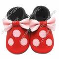 2016 Nuevo Cuero Genuino Lindo Granel Mickey Minnie Kid Bouse Borlas arco Niña Mocasines de Dibujos Animados Primeros Caminante Kids Soft zapatos