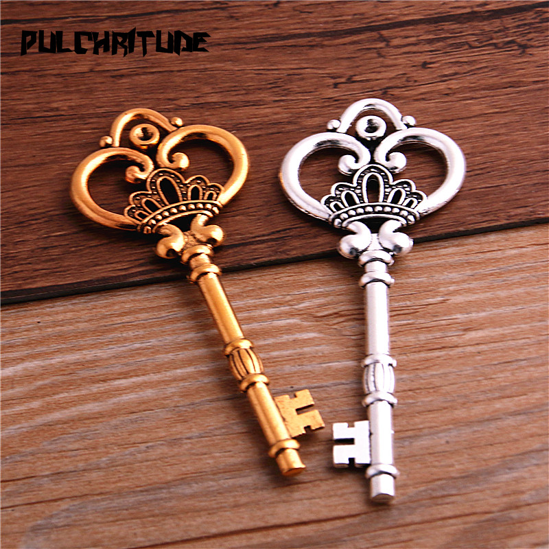 2Pcs 7 Color Metal Alloy Lovely Large Crown Key Charms Vintage Jewelry Keys Charms 32*84mm 5
