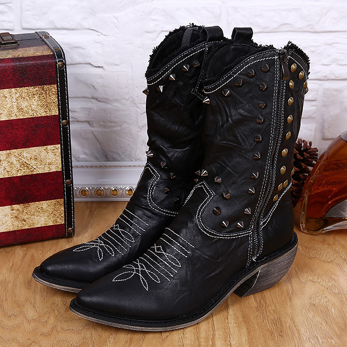 New Men's fashion High heels punk mid calf boots Rivets Pointed Toe shoes Genuine Leather cowboy Western boots for men 2015 retro elastic band rivets height increasing pointed toe platform 2 colors real leather mid calf boots women outdoor shoes