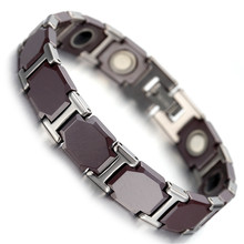 Mens Tungsten Bracelet, Bronze & Silver Magnetic Health Care Jewelry Link Chain KB1500