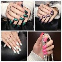 Yunail 96 шт. 4 цветов блеск длинные накладные ногти акриловые ногти советы Площади Полное Покрытие Накладные Ногти Набор с Клеем Наклейки Для Н...
