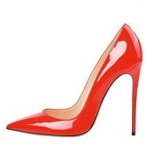 Schuhe Frau High Heel Sexy Black High Heels Spitz kappe Frauen Schuhe Marke Lackleder Hochzeit Schuhe Für Frauen FS-0019