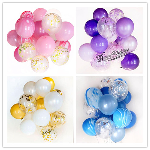 12 30pcs Marble Confetti Balloons Bouquet Clear Latex Baby Shower Birthday Wedding Party Decoration Photobooth