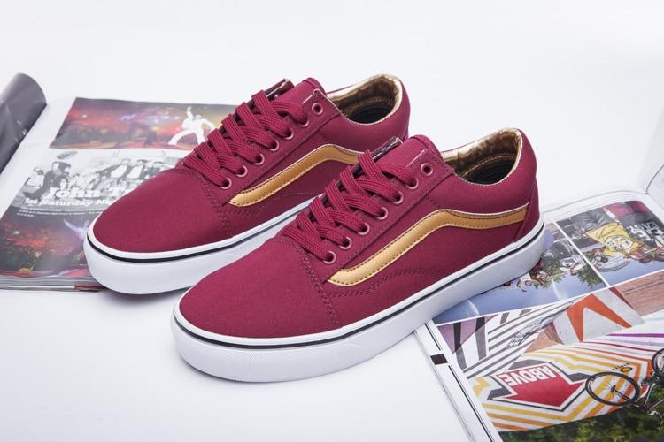 Vans classic old skool or rouge vin couleur hommes bas-dessus toile chaussures de skate casual chaussures livraison gratuite