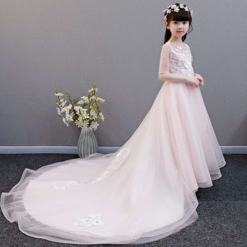 Children Girls Luxury Elegant Pink Lace Princess Birthday Wedding Party Long Tail Dress Kids Fashion Hollow Back Design Dress 2017 new high quality girls children white color princess dress kids baby birthday wedding party lace dress with bow knot design