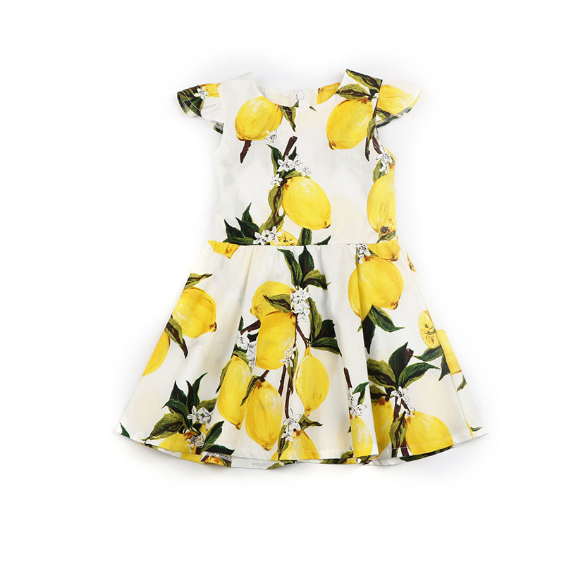 Baby Girls Dresses Princess Costume Yarn Material Kids Clothes For Girls Party Children Fruit Floral Printed Back Zipper Dresses in Dresses from Mother Kids