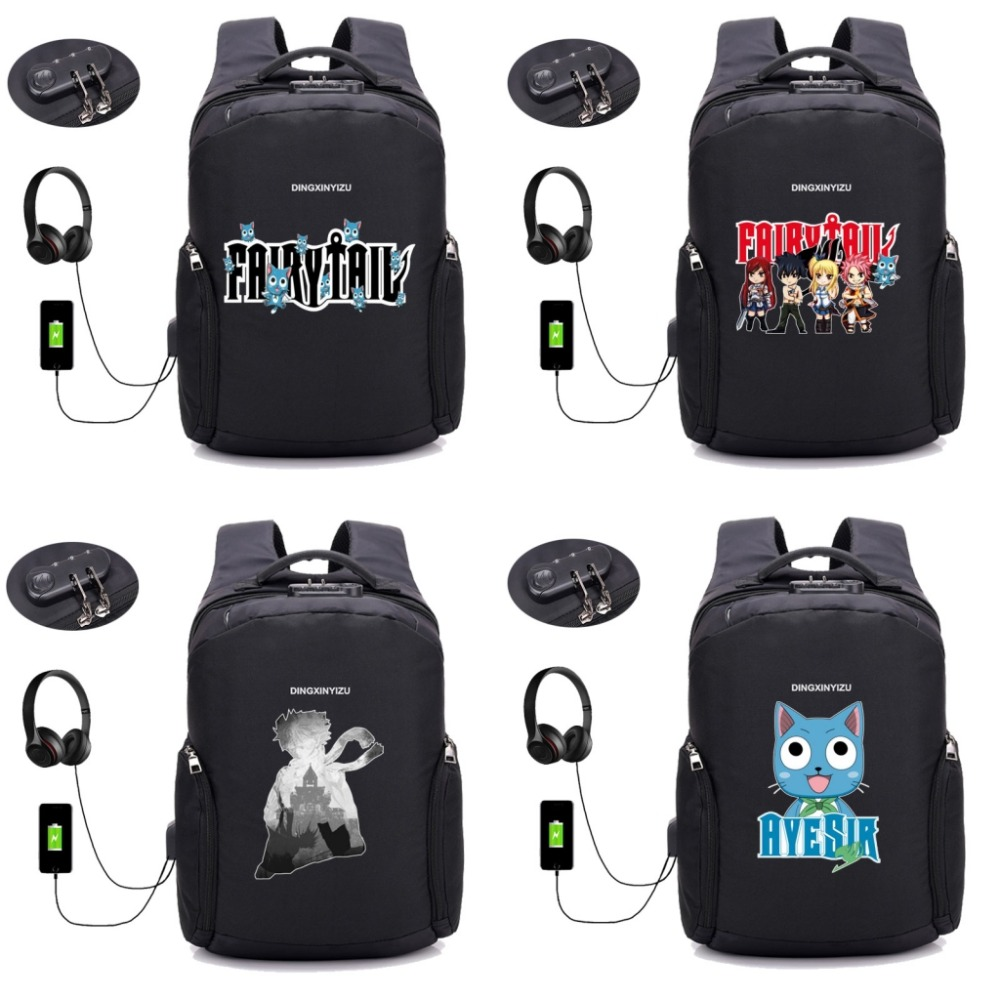 anime Fairy Tail Backpack USB Charge Anti Theft Backpack School student Bags Men Women Travel Backpack Waterproof bag 18 style anime fairy tail backpack student cartoon school bags canvas travel backpacks durable teenager daily bag