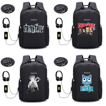 anime Fairy Tail Backpack USB Charge Anti Theft Backpack School student Bags Men Women Travel Backpack Waterproof bag 18 style