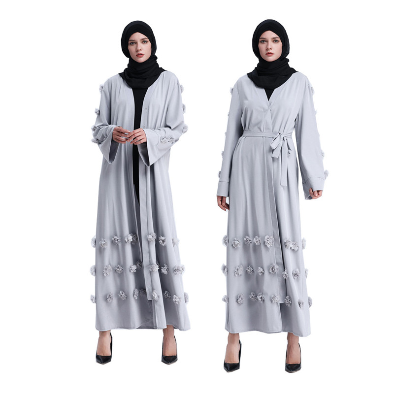 New Gray Muslim Fashion Turkey Dress Solid Color Flowers Abaya Plus Size Open Robe Islamic Clothing Pretty Women S Party Dresses Islamic Clothing Aliexpress