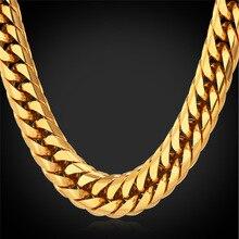 """Estilo americano de Hip Hop pesados hombres frescos de cadena 13 MM 28 """" 18 K oro plateó larga Chunky hombres collar de la joyería collares grandes GN1150"""
