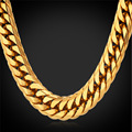Estilo americano de Hip Hop pesados hombres frescos de cadena 13 MM 28 '' 18 K oro plateó larga Chunky hombres collar de la joyería collares grandes GN1150