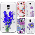 S4 S5 Case Ultra Thin Soft Phone Cover For Samsung Galaxy S4 i9500 Flowers Painted Pattern Transparent Soft Silicone Back Case