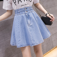 Sexy Denim Pleated Skirt Women Plus Size XXL Summer Skirts Womens Casual Blue Mini Jeans Skirt Female Vintage Jupe Fashion