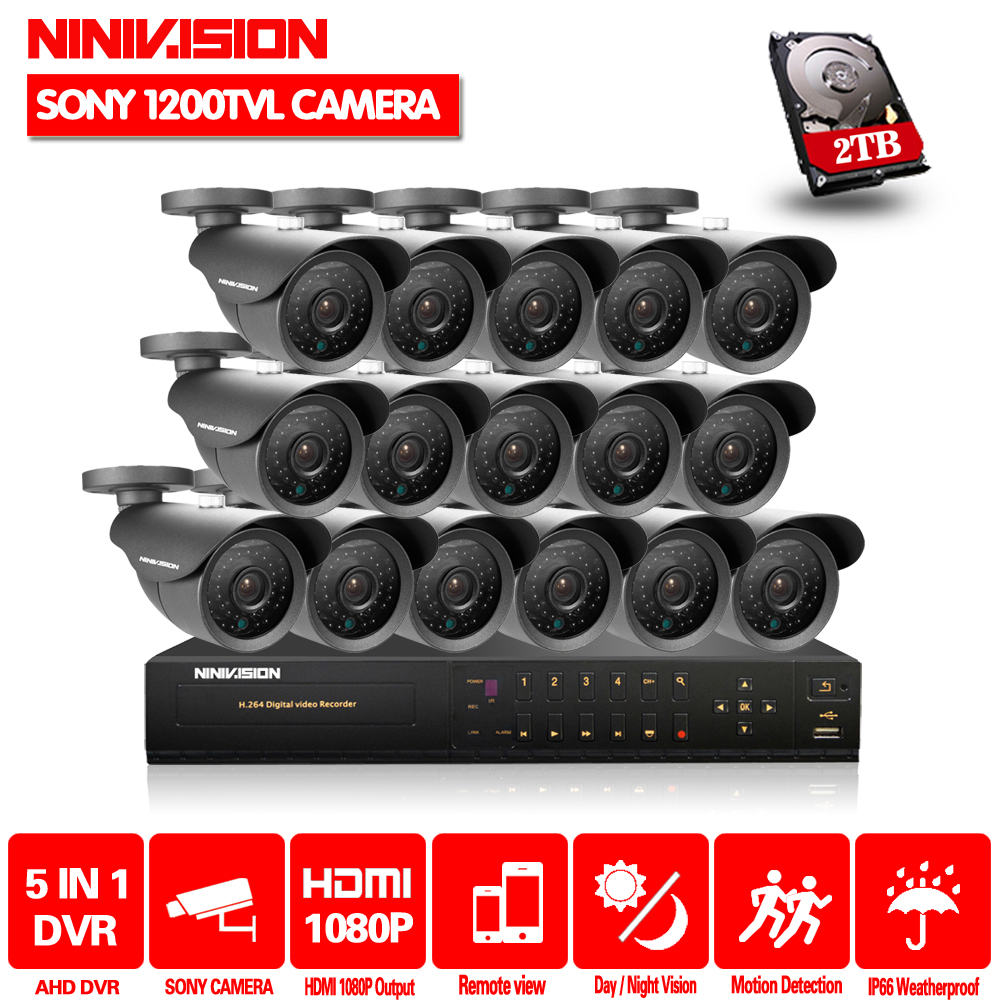 Home Video surveillance system16CH 2MP HDMI 1080p DVR Kit 16PCS SONY 1200TVL CCTV Night Security Camera System QR Scan with HDD ...