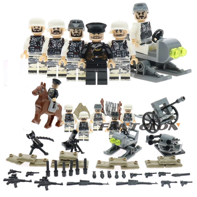 Children Toys WW2 Military German Russian Italy Army Building Blocks Sets Army Soliders Wepons Guns Compatible With Legoed new lepin 16009 1151pcs queen anne s revenge pirates of the caribbean building blocks set compatible legoed with 4195 children