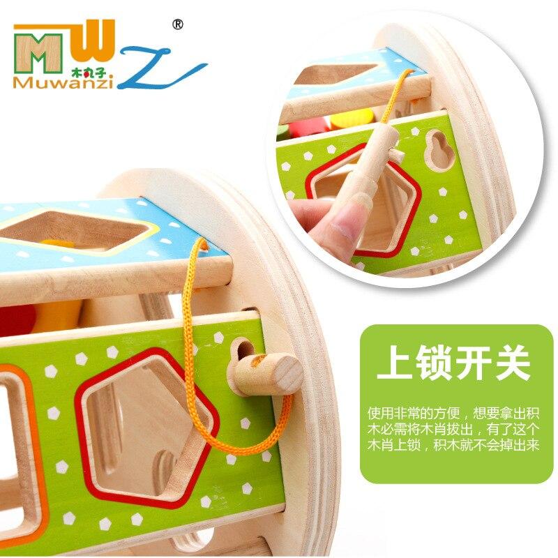Child baby Wood building block intelligence wheel half male baby intelligence toy, Wooden Assembly shape matching Blocks toys