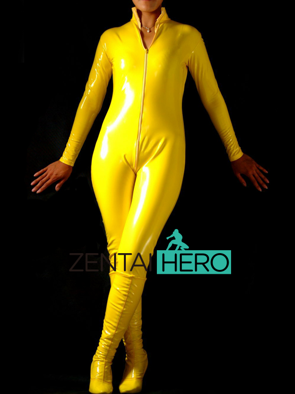 Free Shipping DHL Custom Made New Arrival Sexy Yellow PVC Zentai Catsuit  Zentai Suit For Halloween Party Front Zipper AXM38