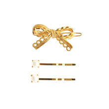 SANSUMMER 2019 Autumn Winter New Style Fashion Alloy Electroplated Retro Lace Bow Pearl Hairpin Set Temperament Ornaments 5812