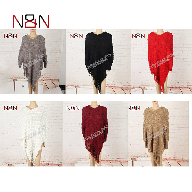 Casual Knitted Women Poncho Plus Size Solid And Striped Sweater Winter Thick Warm Tassel Sweater Batwing Sleeve Poncho And Capes