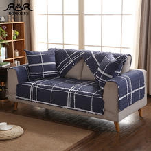 Navy Blue Plaid Sofa Cover Cotton Modern Slipcovers Anti-slip L-Shape Sectional Couch Covers Single Chair Loveseat Covering
