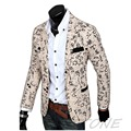 2016 Stylish Mens Casual Slim Fit tres Botones Escudo Blazer Suit Jacket Outwear ZL001
