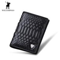 WilliamPOLO Для мужчин кошелек короткие из натуральной кожи змеиной двойные деньги кошелек для монет держатель карман для наличных кожи питона ч