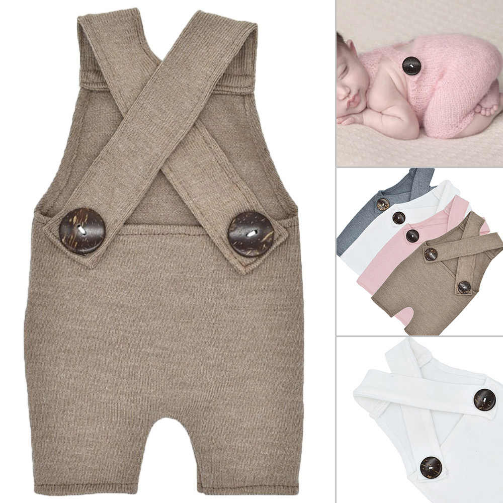 cd237bdcd949 ... Newborn Knitted Photography Prop Button Overalls Pants Baby Boys Girls  Photo Shoot Romper Outfit Clothes Suspender ...