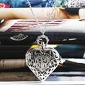 Fashion Silver Heart Shaped Lovely Hollow Elegant Quartz Pocket Watch Necklace Pendant for Women Ladies girl Birthday Gift P605