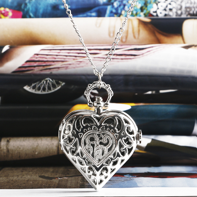 Fashion Silver Heart Shaped Lovely Hollow Elegant Quartz Pocket Watch Necklace P