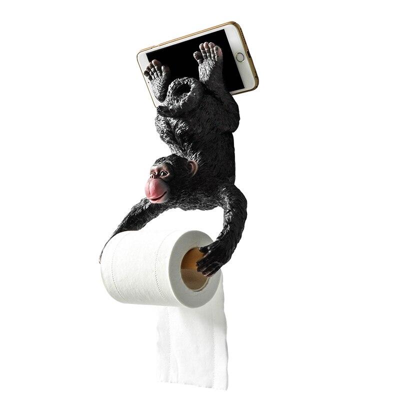 Support de rouleau de support de tissu de singe de salle de bains européenne porte-papier hygiénique résine imperméable à l'eau porte-papier décoration d'orang-outan