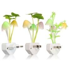 US/EU Plug 220V LED Mushroom Night Light Lamp Lotus Leaf Aquatic Plants Indoor Lighting Control For Children Baby Room Decor