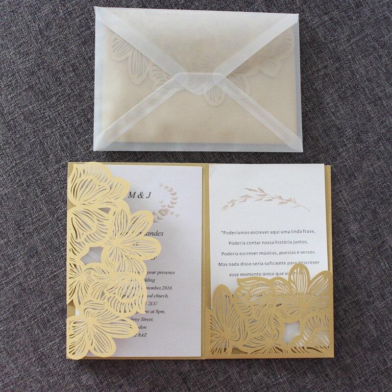 Floral Wedding Card Manufacturer From Hosur: Gold Invitations Transparent Envelope Floral Laser Cut