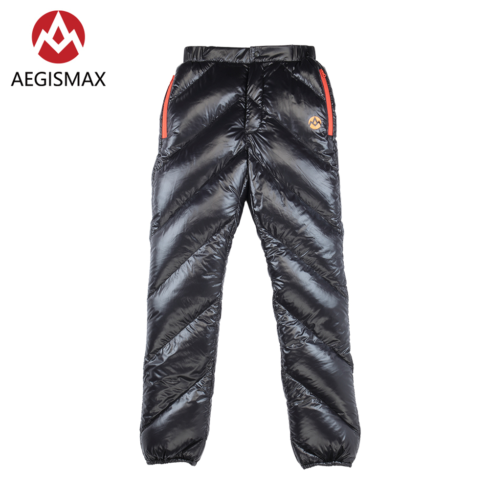 AEGISMAX Unisex 95% Lightweight Winter White Goose Down Pants Trousers Bottom 800FP For Outdoor Camping Hiking Cilmbing