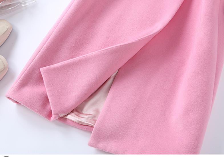 Wool Coat 2019 Winter New Pink Long Coat Women Turn down Collar Double Breasted High Quality Cashmere Coat - 4
