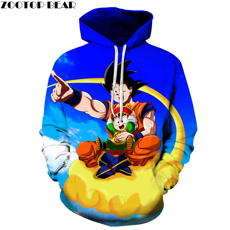 Flying in the sky Men Hoodies Dragon Ball 3D Print Women Hoodie Band Sweatshirts Pullover Tracksuit Long Sleeve Goku Top DropShi