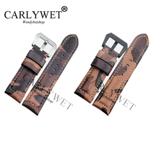 CARLYWET 22 24 26mm New Wholesale VINTAGE Camo Brown Watch Band Real Calf Leather Thick Strap Belt Silver Black Screw Buckle 20 22 24 26mm new men lady black gray green dark light brown watch band genuine leather thick band strap belt silver pin buckle