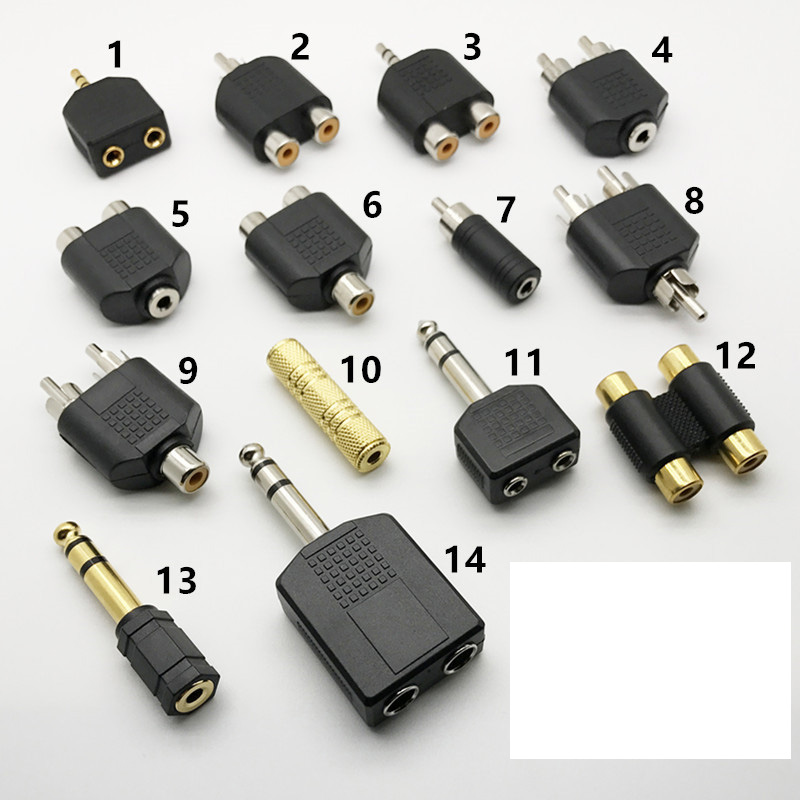 Audio Connecter Adaptor Plug 3.5 Stereo Plug RCA AV Splitter 6.5 Male to female Audio cable adapter RCA 1 to 2 90 degree BNC6.35 3 5mm male to 2 rca female stereo audio adapter
