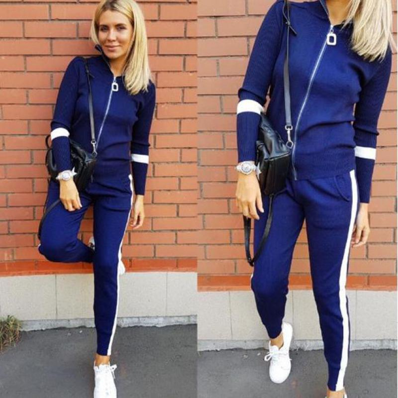 2019 New Spring Autumn Casual Two Piece Sets Women Long Sleeve Zipper Sweaters Top+pants 2Pcs Set Sportwear Knit Suit Tracksuits