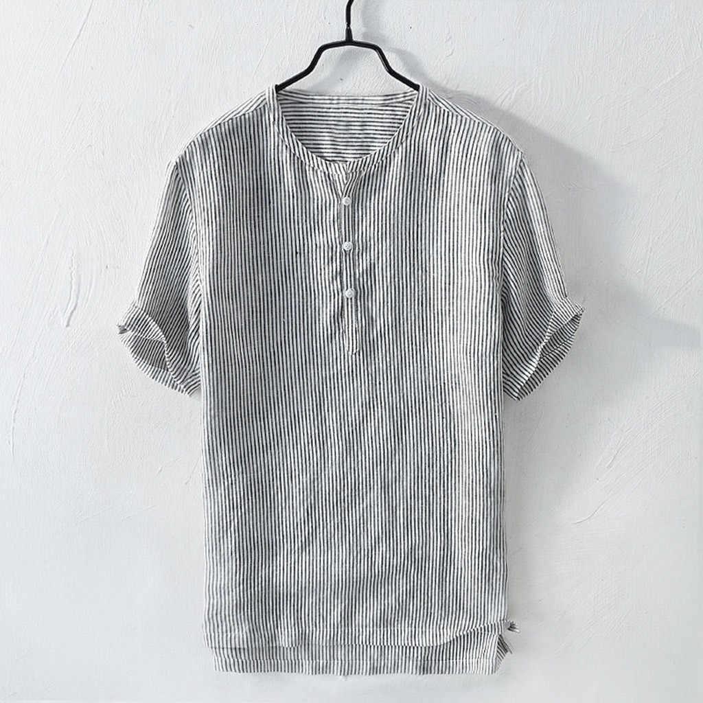 Feitong 男性のシャツシュミーズ夏通気性ストライプボタンコットンシャツ半袖アロハシャツトップス camisas 2019