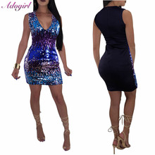 цена на Adogirl Colorful Sequins Patchwork Bodycon Dress women Sexy Sleeveless Deep V Neck Mini Dress Night Party Club Dress Vestidos