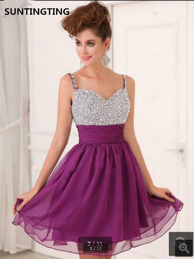 Robe De Soire new short purple chiffon spaghetti straps   cocktail     dress   sweetheart neck petite pleated lovely   cocktail   gowns